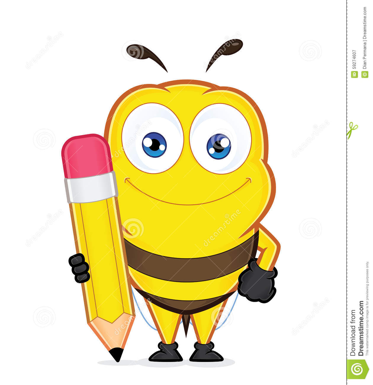 hight resolution of bee holding a pencil