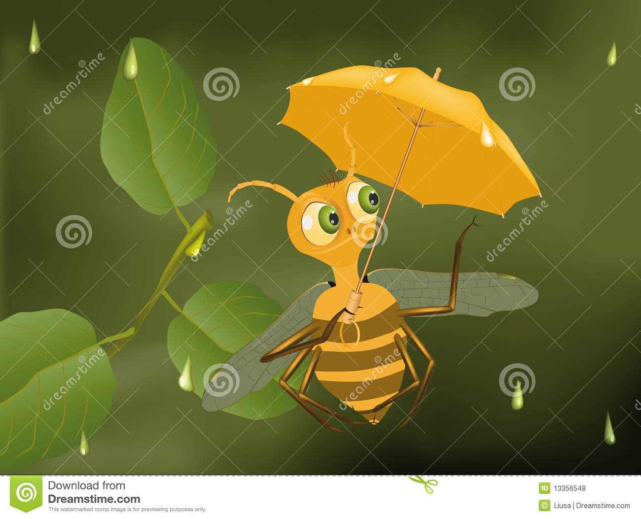 Bee And A Rain Royalty Free Stock Photos Image 13356548