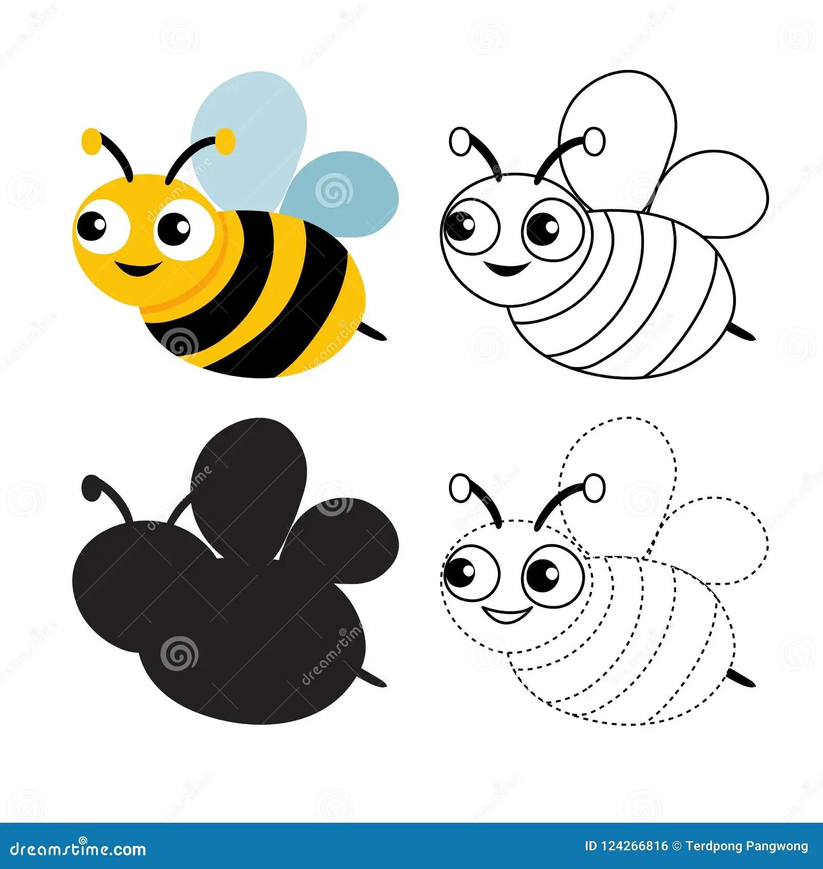 Bee Worksheet Vector Design Stock Vector