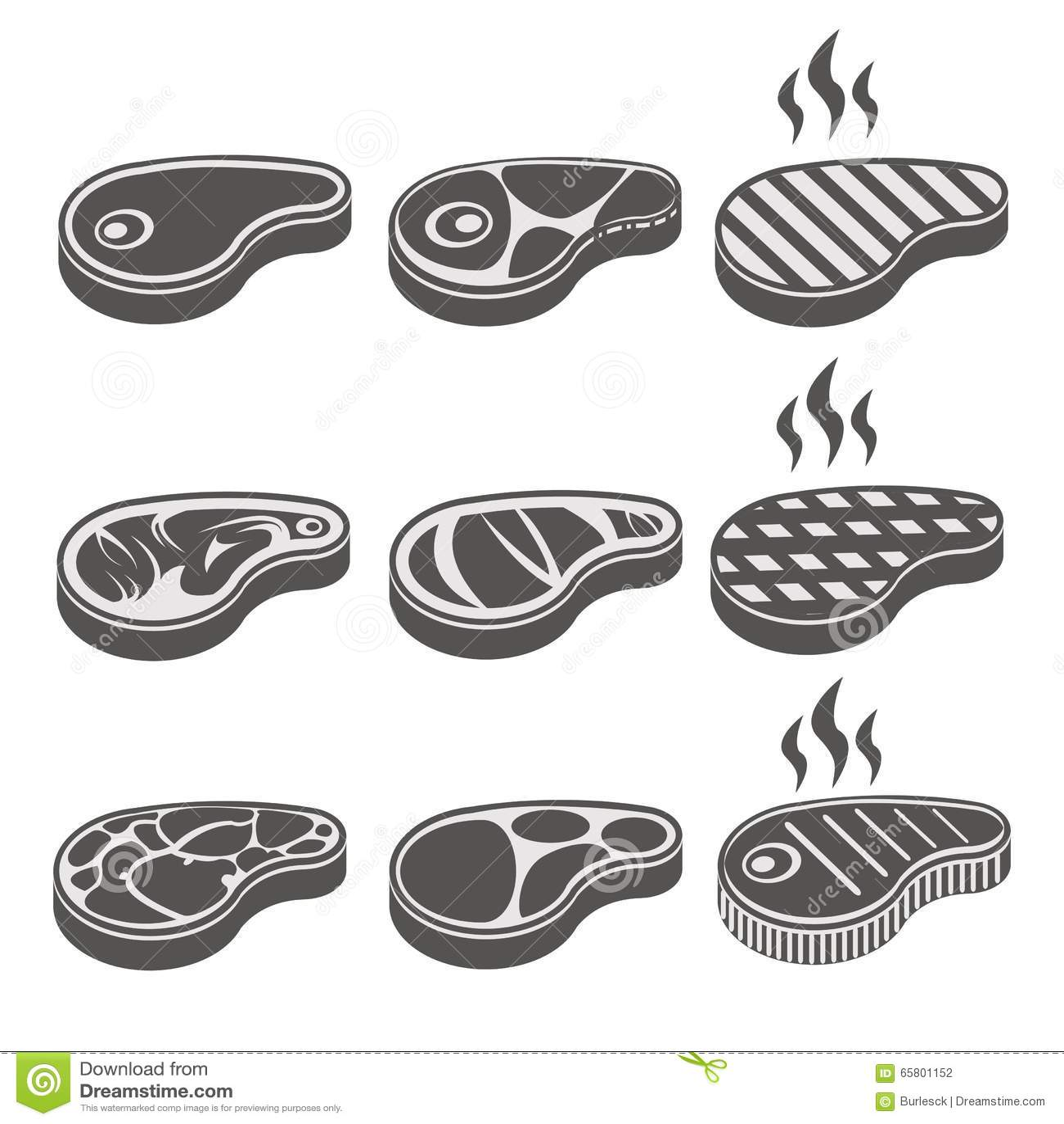 Beef Meat Steak Vector Icons Set Stock Vector