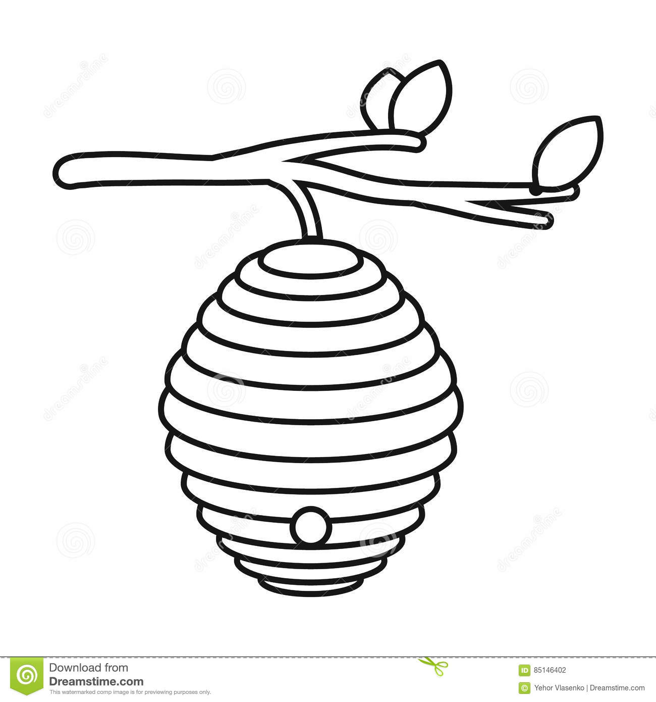 Beehive Icon In Outline Style Isolated On White Background