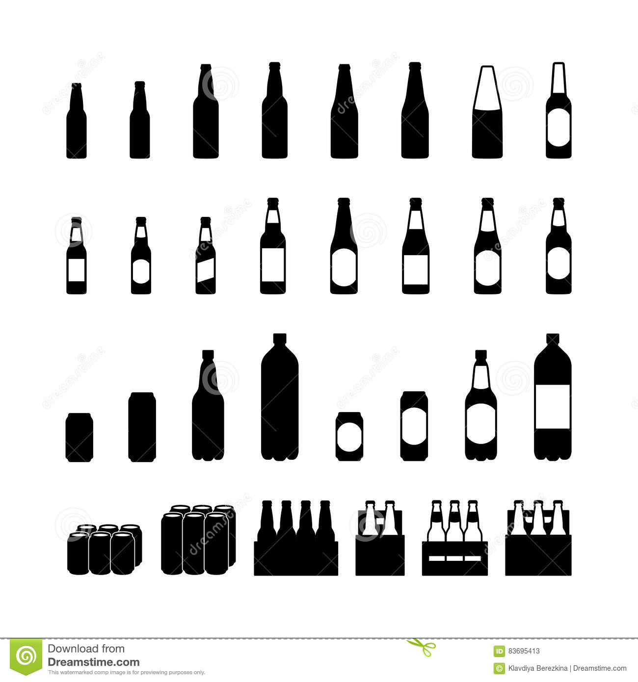 Beer Bottle And Beercan Pictogram Icon Set Stock Vector