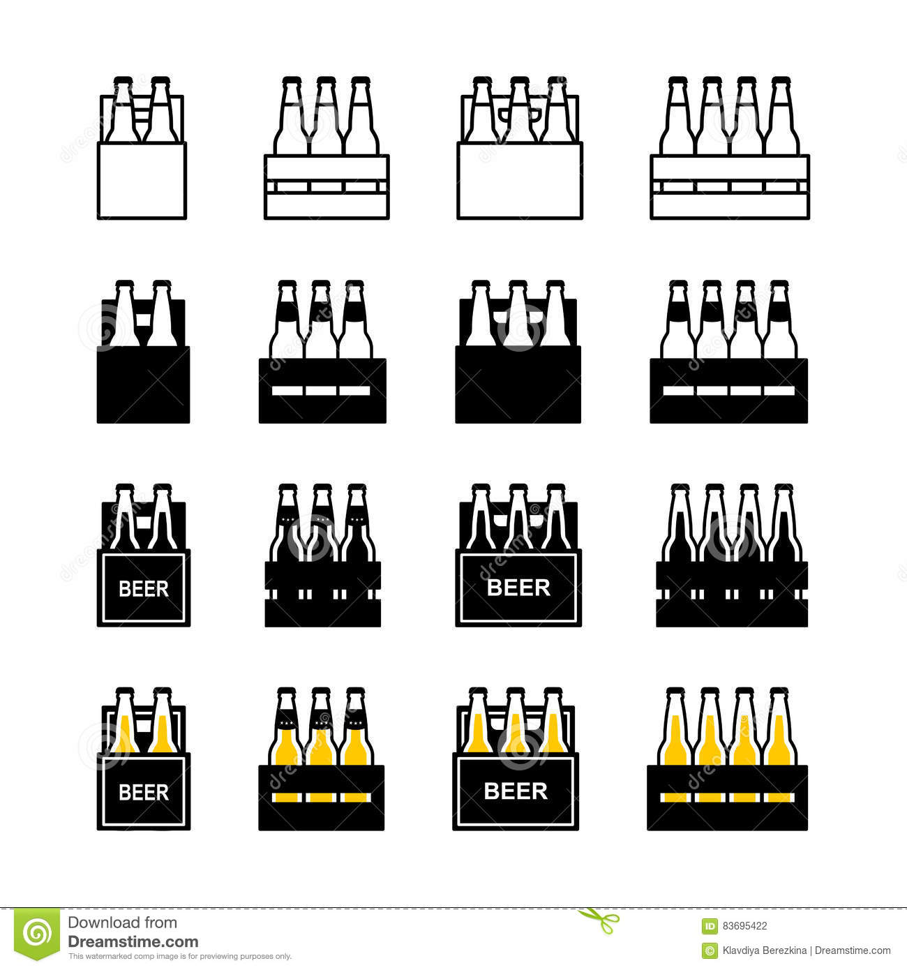 Beer box icon set stock vector. Illustration of silhouette
