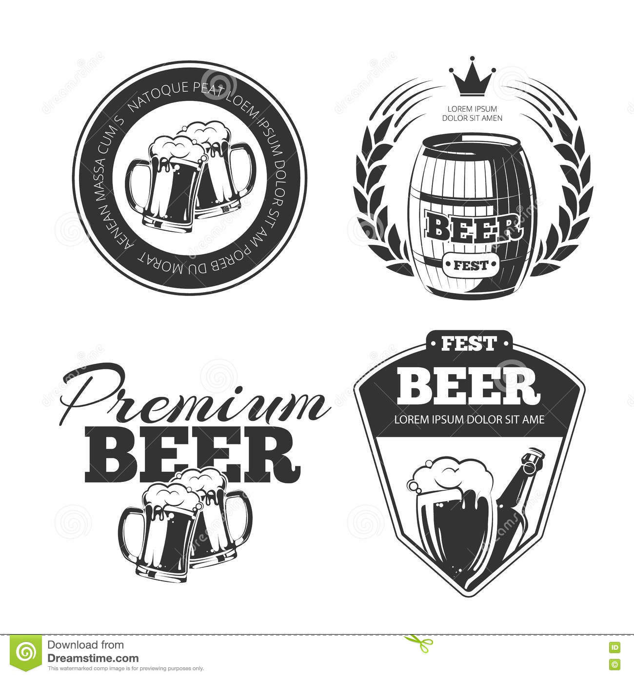 Beer Vector Icons Labels Signs Symbols And Design