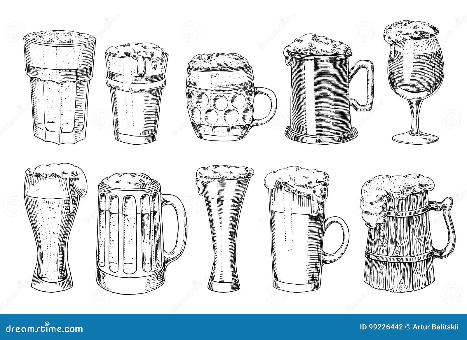 Beer Glass Mug Or Bottle Of Oktoberfest Engraved In Ink