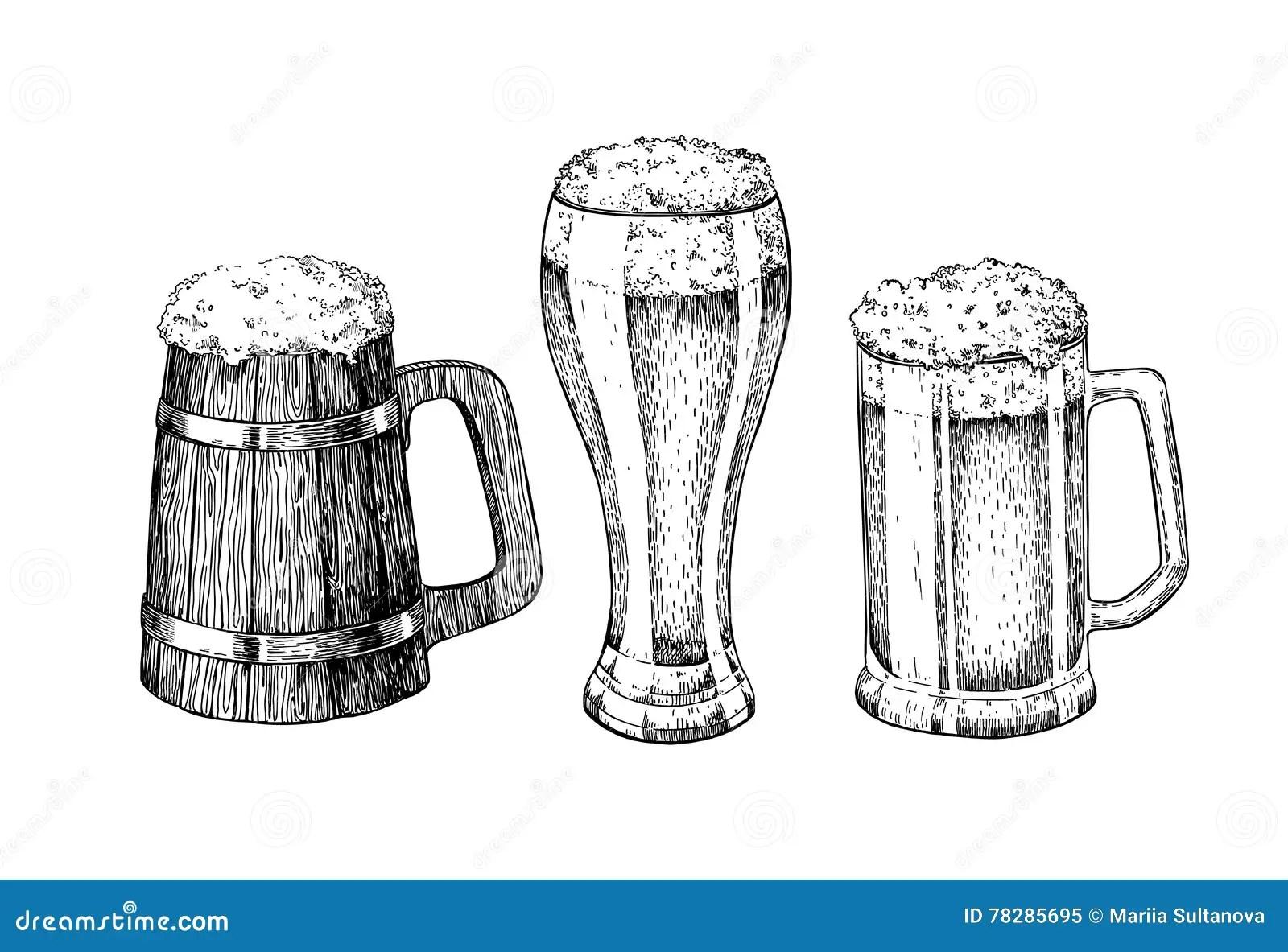 Beer Glass Mug Wooden Mug Hand Drawn Illustration