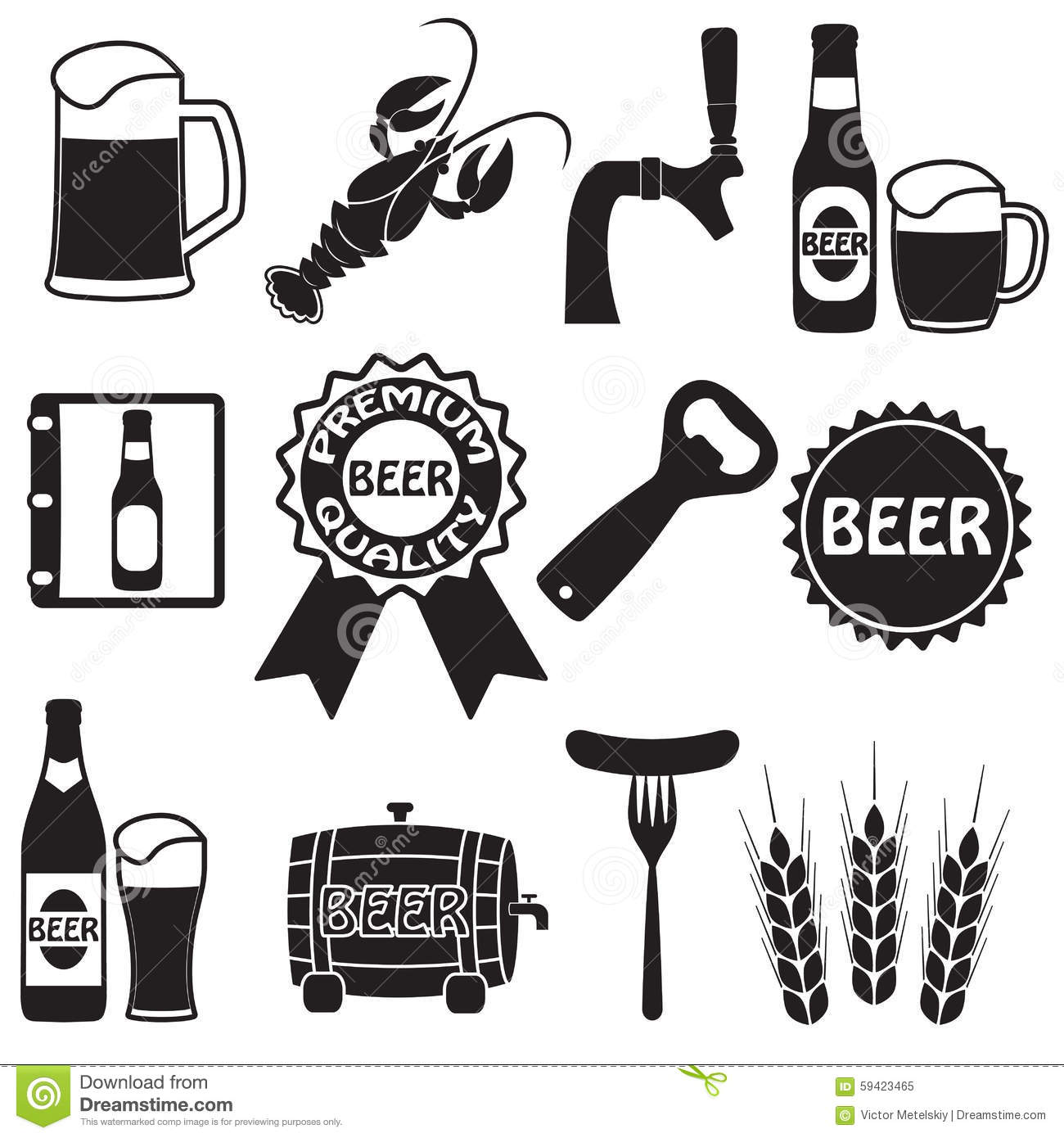 Beer Icons Set Beer Symbols And Design Elements Vector