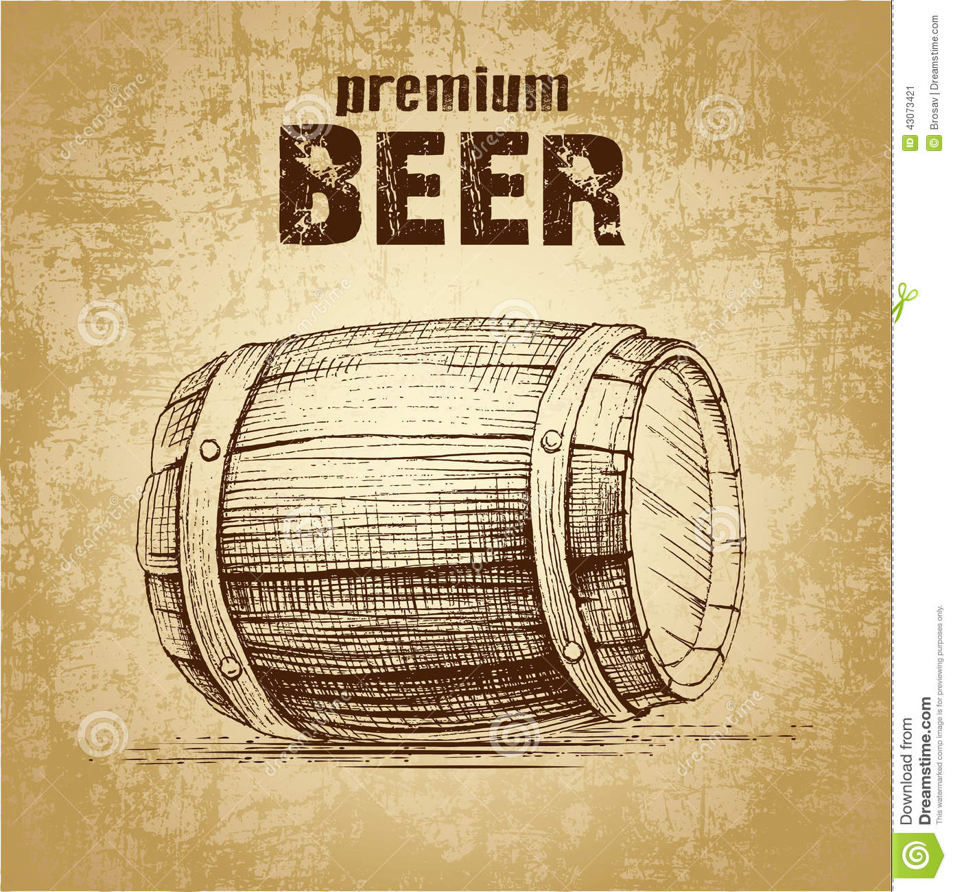 hight resolution of beer keg with wheat for label package