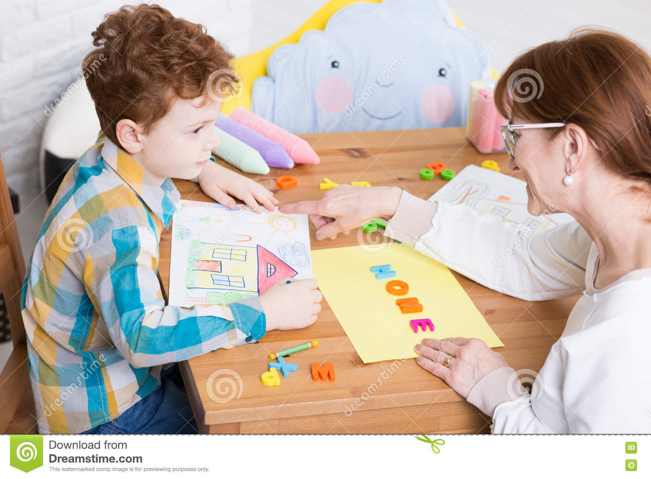Behavior Therapy With Pedagogue Stock Photo