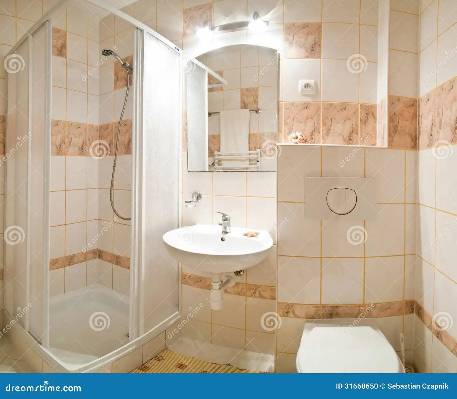 Beige bathroom stock photo Image of shower flush brown