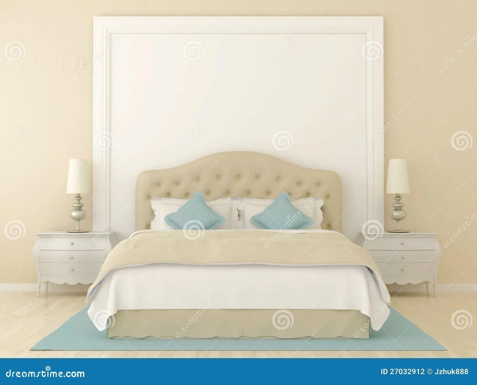 Beige slaapkamer stock foto Afbeelding bestaande uit