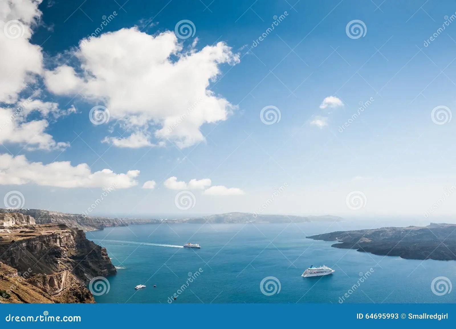 Bello Paesaggio Con La Vista Del Mare Immagine Stock  Immagine di europa cyclades 64695993