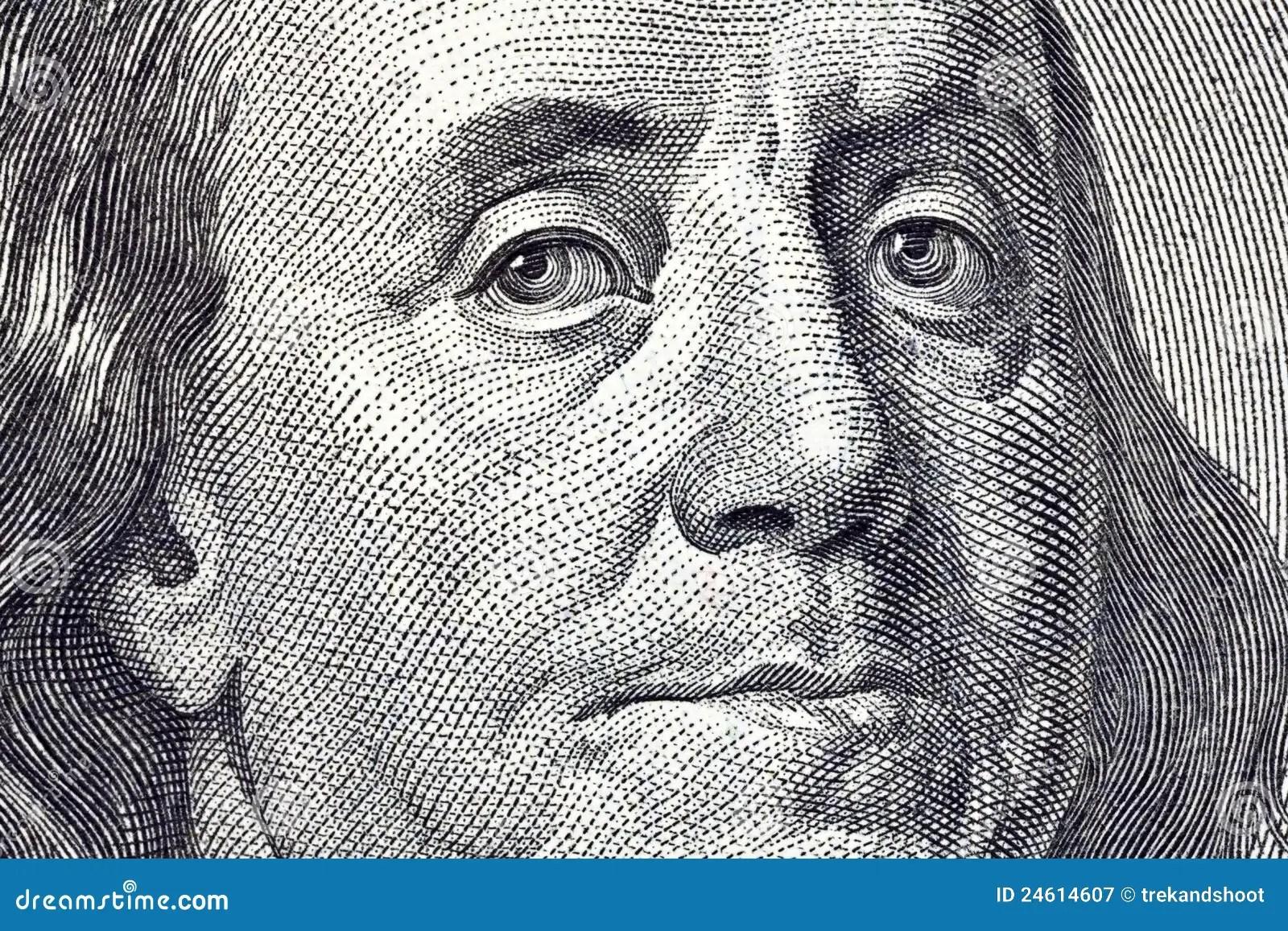 Ben Franklin Macro Close Up 100 Bill Stock Image