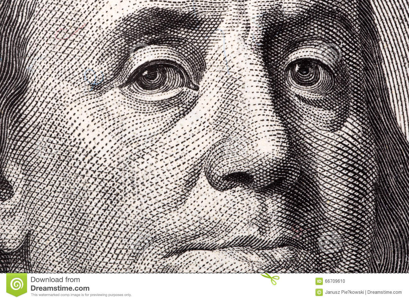 Benjamin Franklin A Close Up Portrait Stock Photo