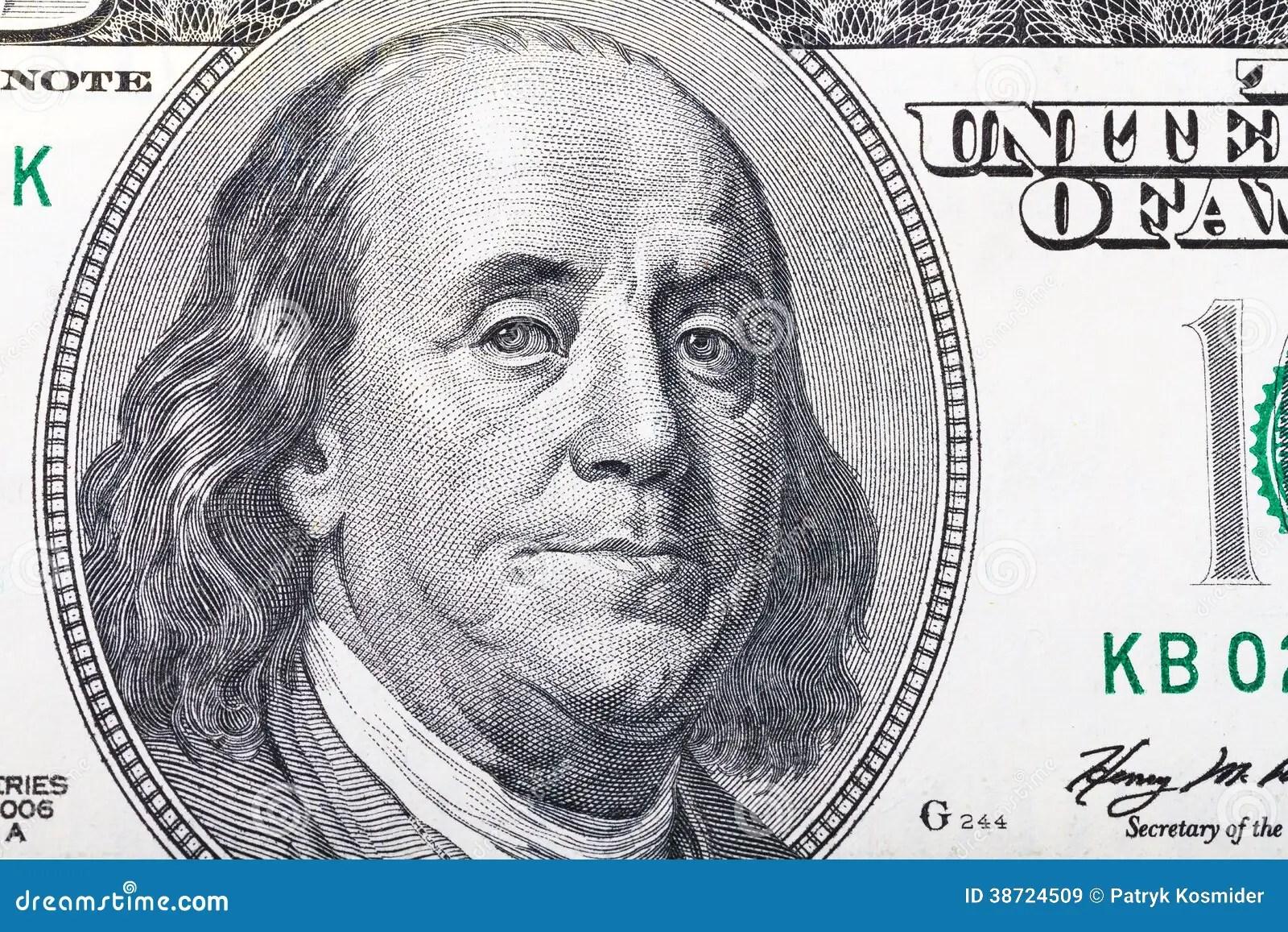 Benjamin Franklin Portrait On Hundred Dollars Royalty Free