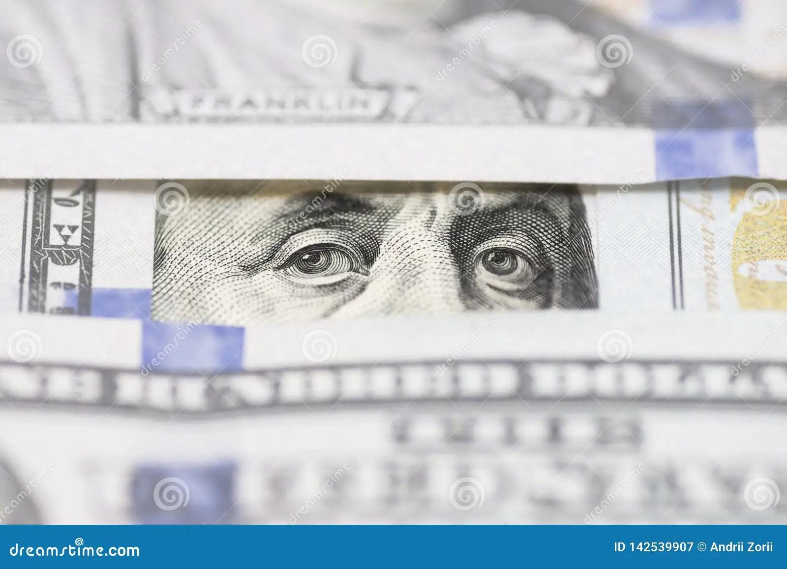 Benjamin Franklin S Eyes Between Hundred Dollar Banknotes