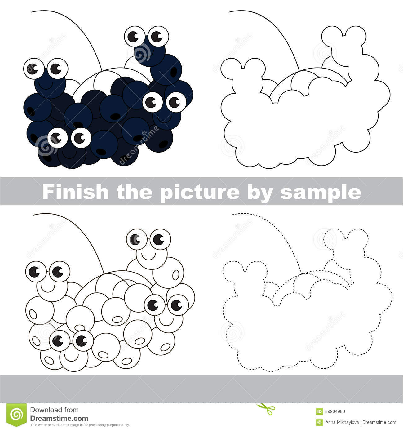 Berry Drawing Worksheet Stock Vector Illustration Of