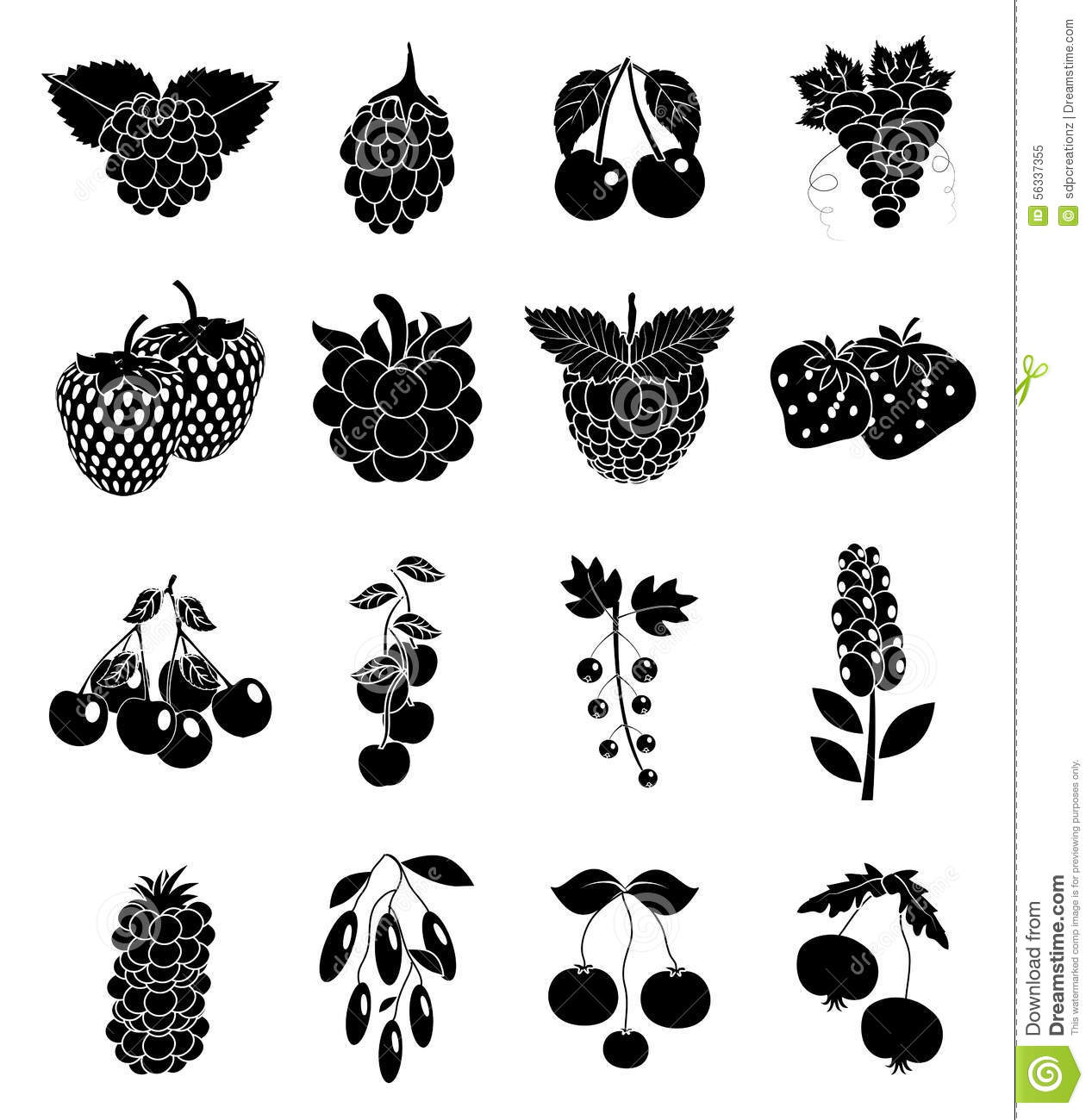 Fruits Icons Black Cartoon Vector
