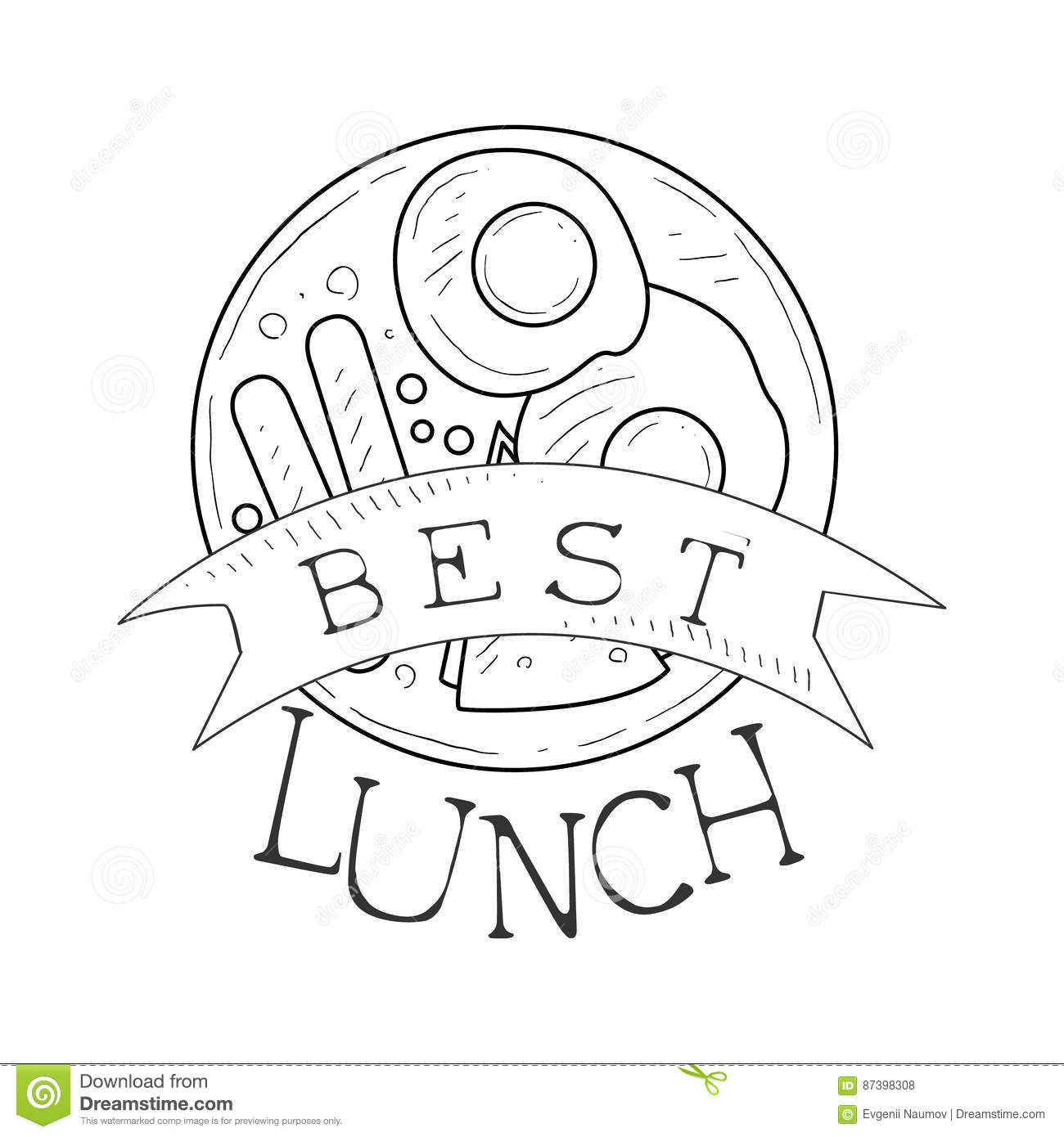 Best Cafe Lunch Menu Promo Sign In Sketch Style With