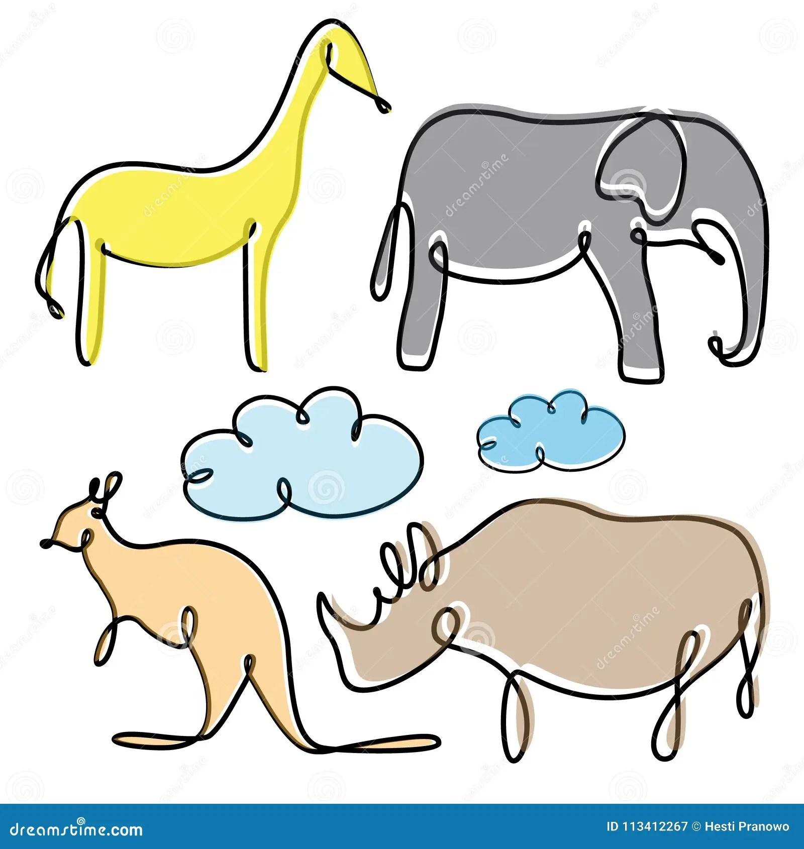 Silhouette Rhino Sketch Vector Cartoon Vector