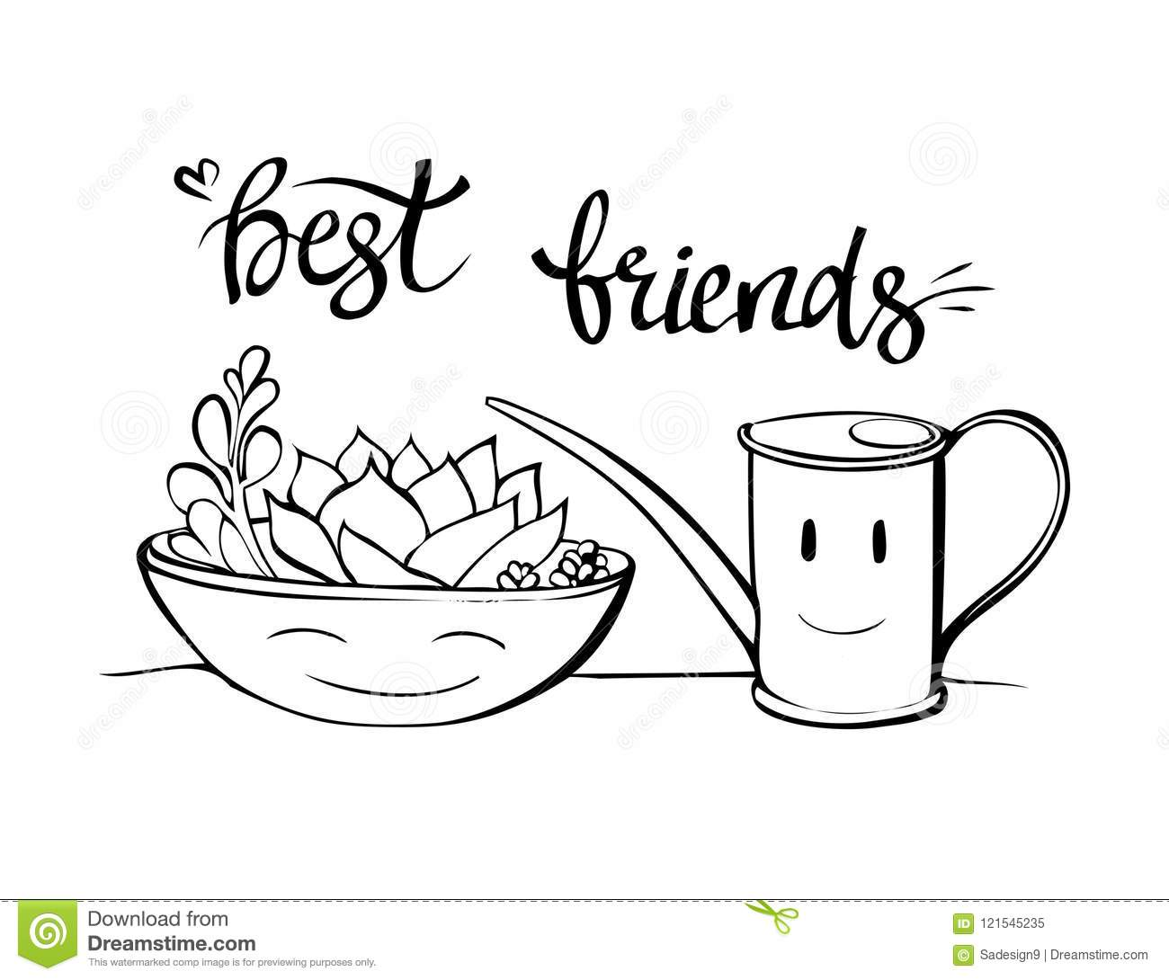 Best Friends Botany Illustration Cartoon Succulent In A