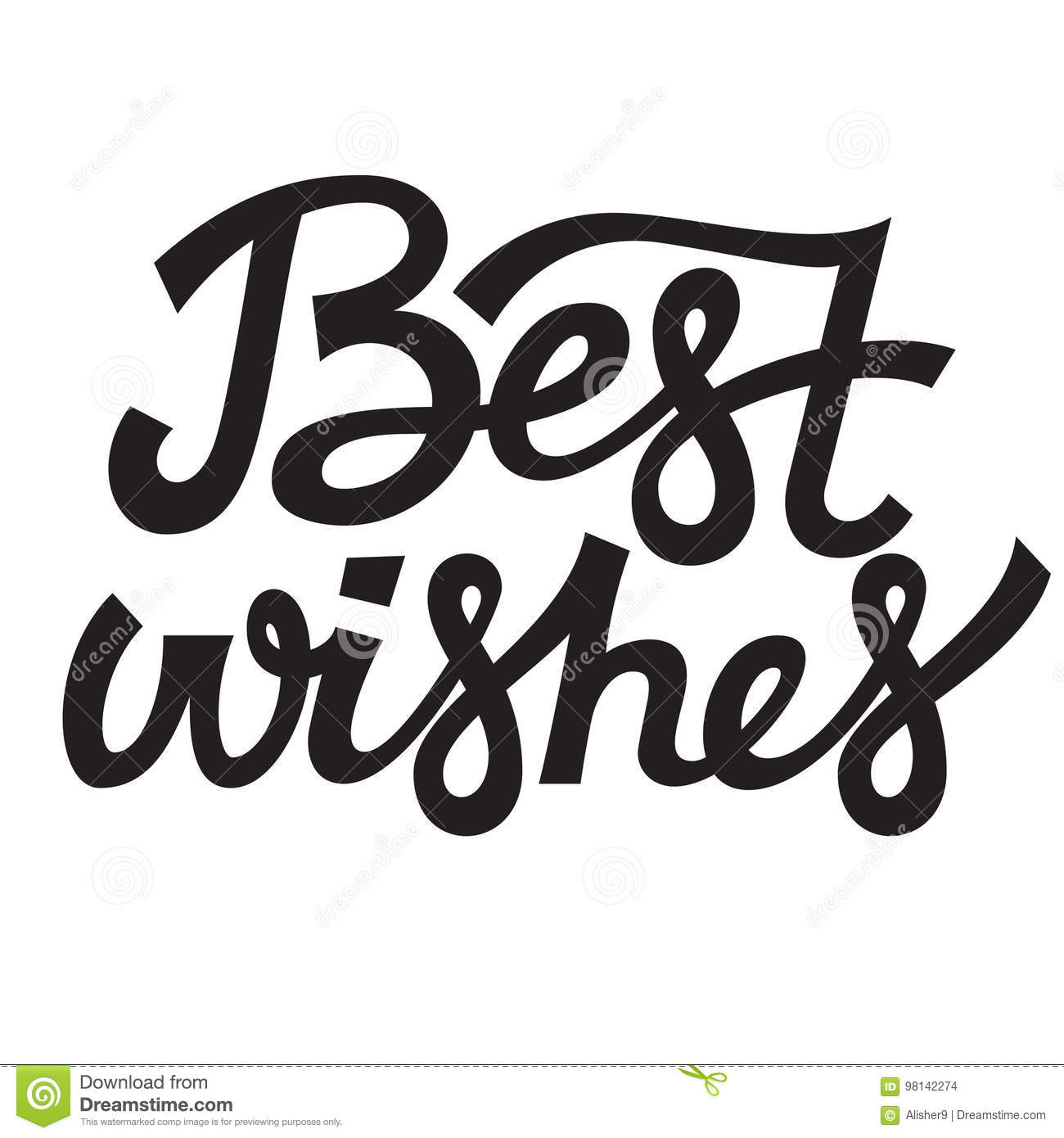 Best Wishes Lettering Typography Vector Design Stock