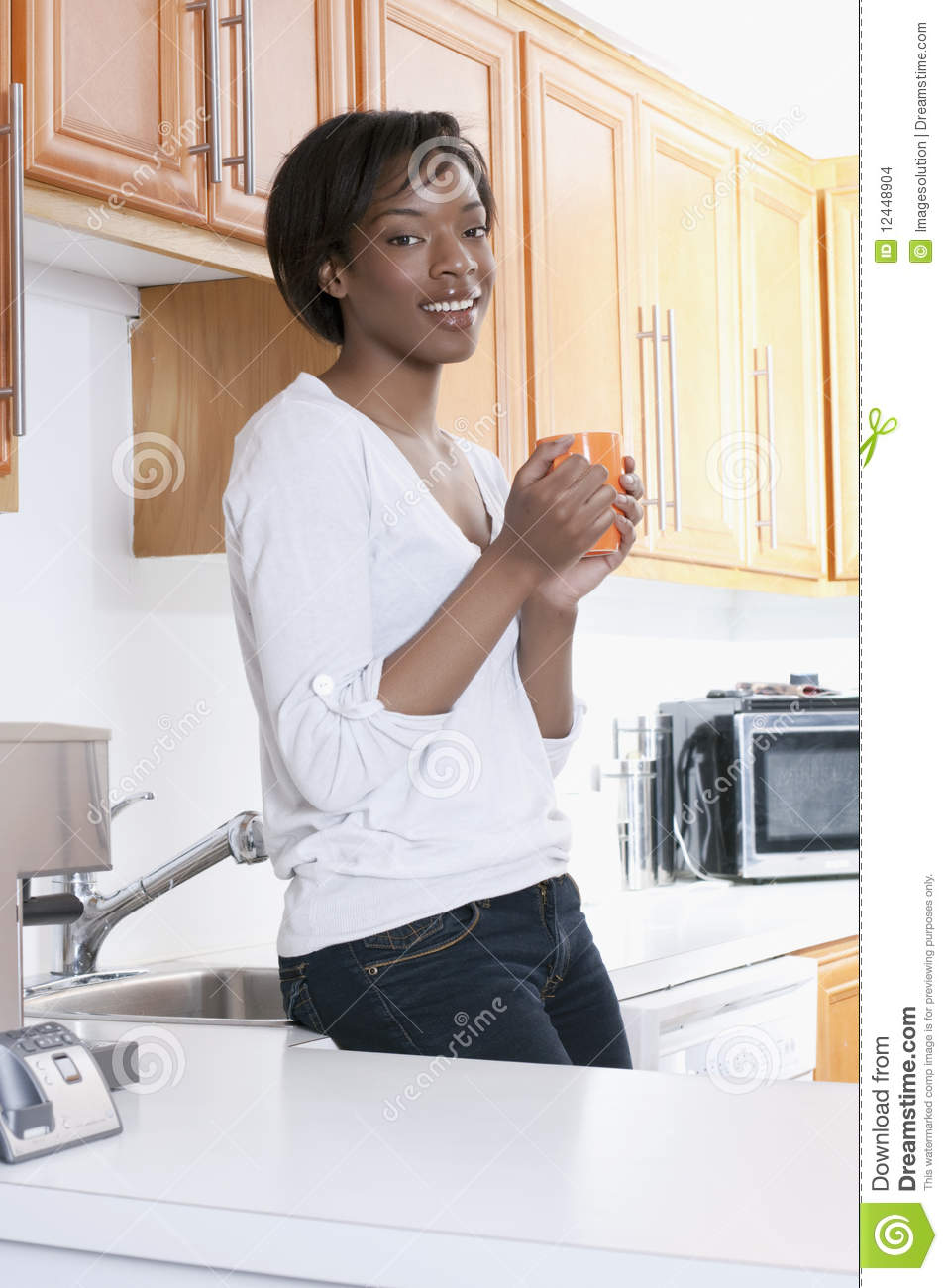 Beutiful Black Women At Home Smiling Stock Images  Image