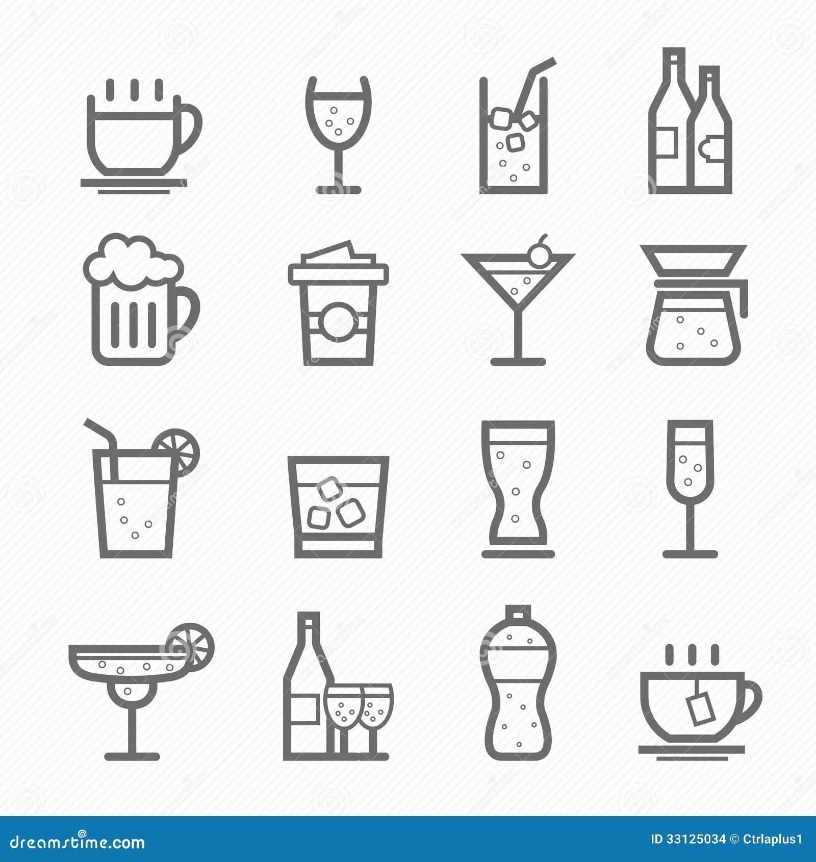 Beverage Symbol Line Icon Set Stock Vector