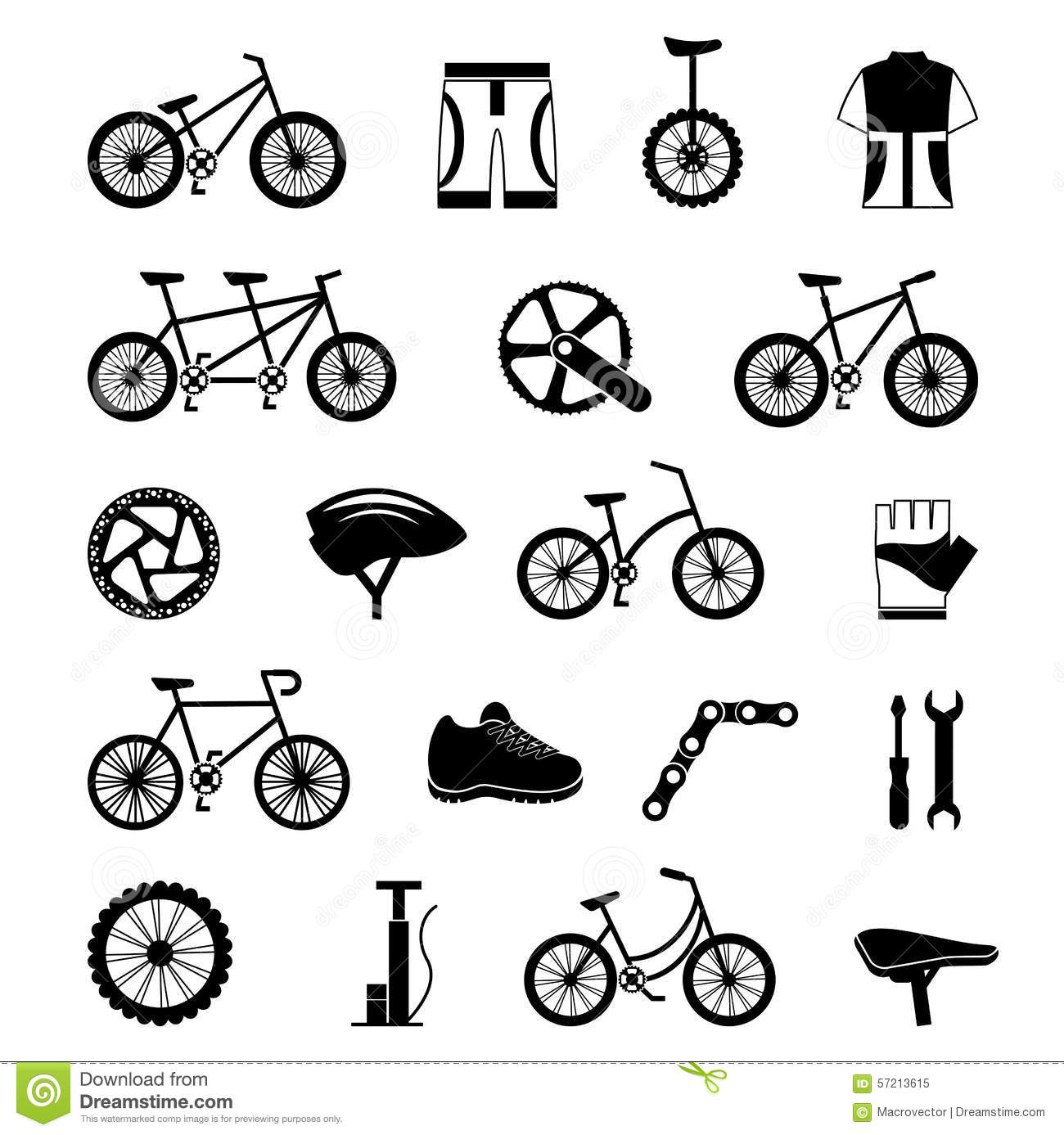 Bicycle Accessories Black Icons Set Stock Vector
