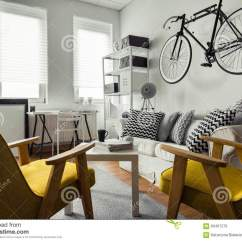 Hanging Chair In Living Room Portable Cloth High Canada Bicycle On The Wall Stock Photo Image Of