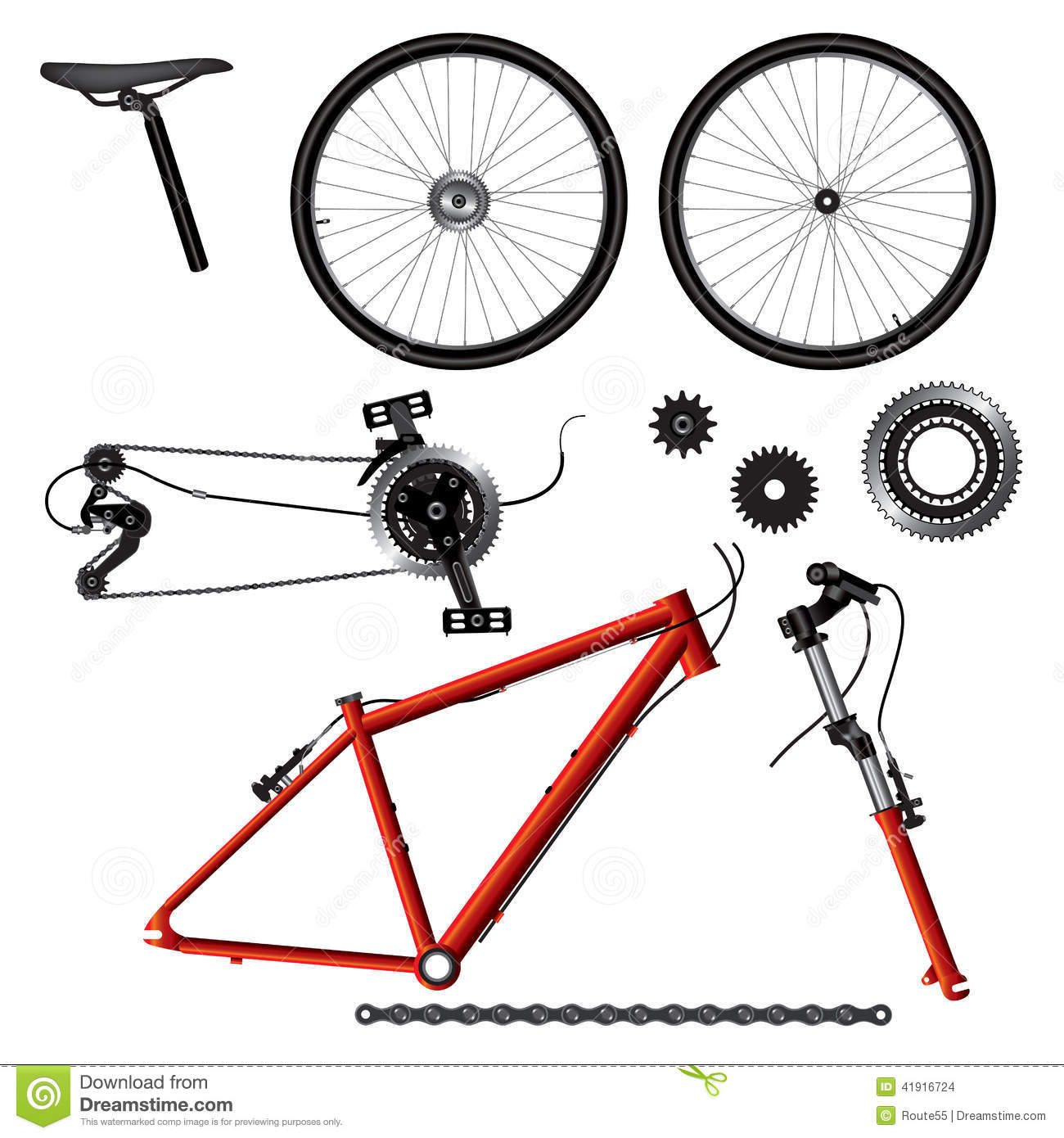 Bicycle Parts Stock Vector