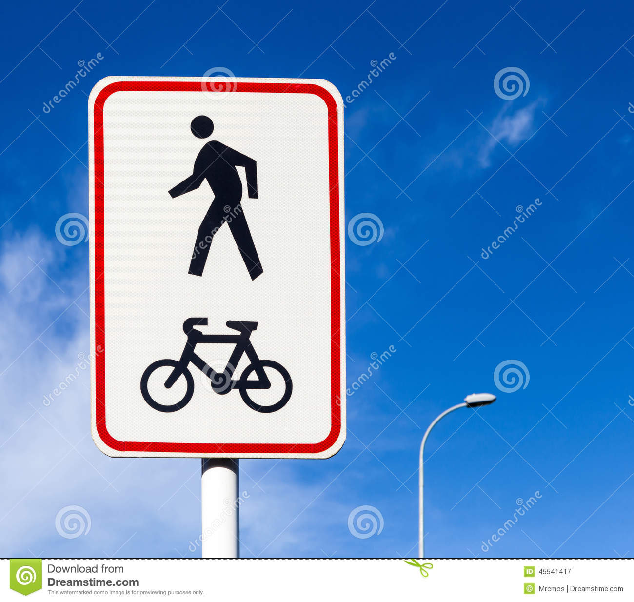 Bicycle And Pedestrian Lane Road Sign On Pole Post Bike