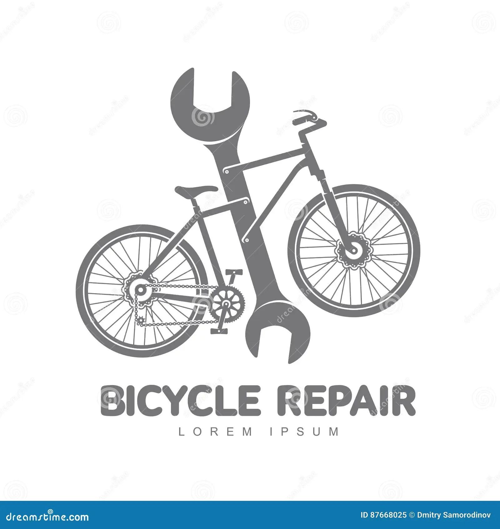 Bicycle Repair Workshop Logo Template Stock Illustration