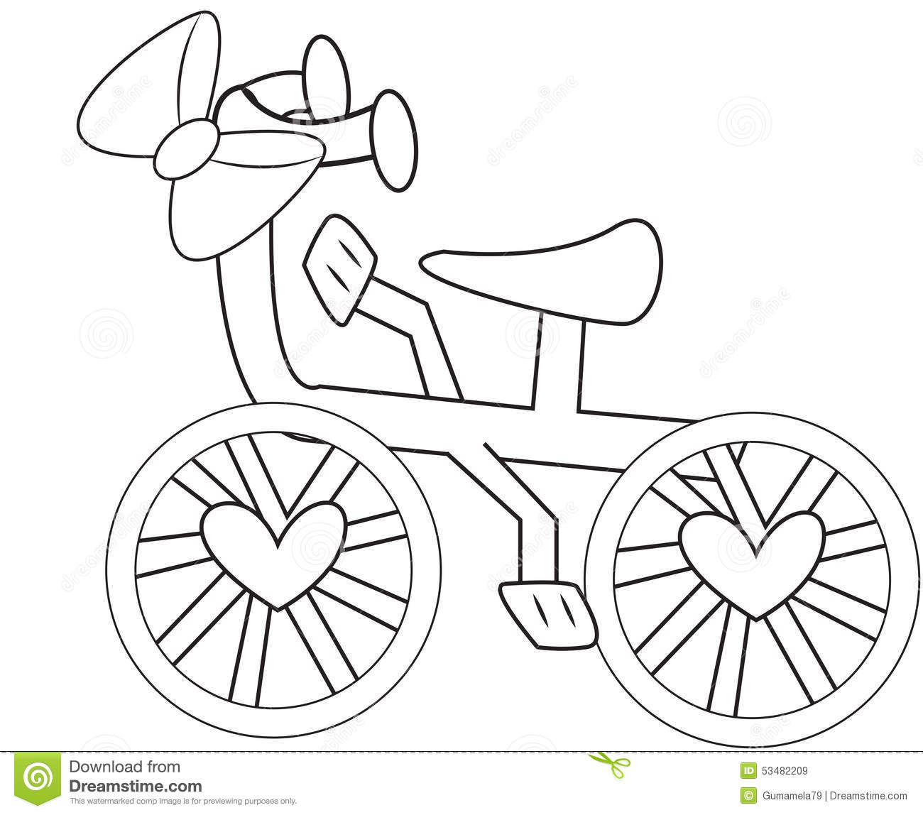 Bicycle With A Ribbon Coloring Page Stock Illustration