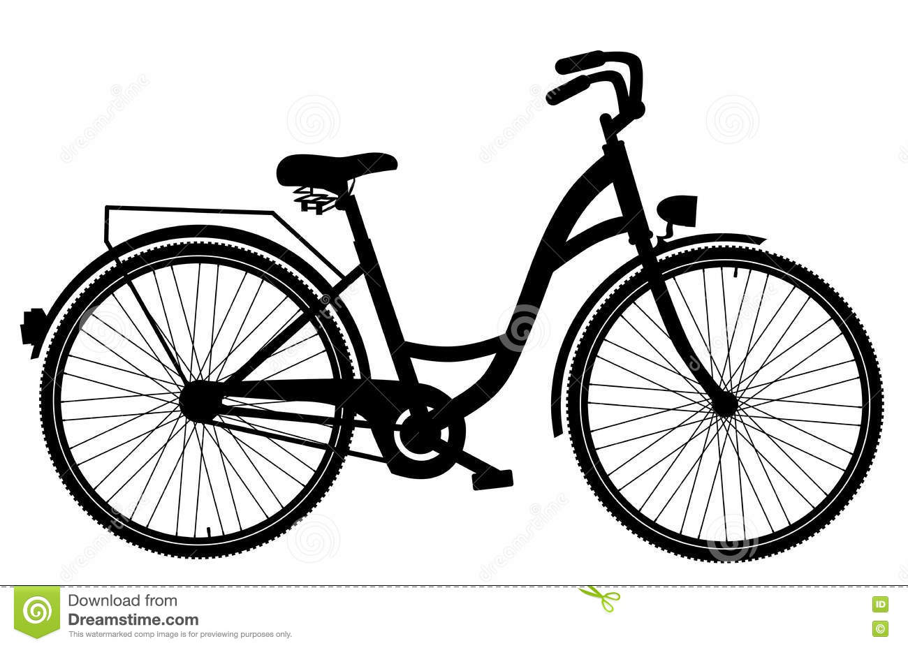 Bicycle Silhouette Isolated On White Background Stock