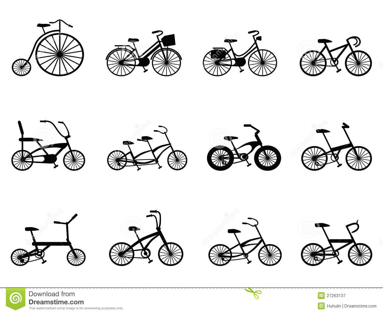 Bicycle Silhouettes Set Cartoon Vector