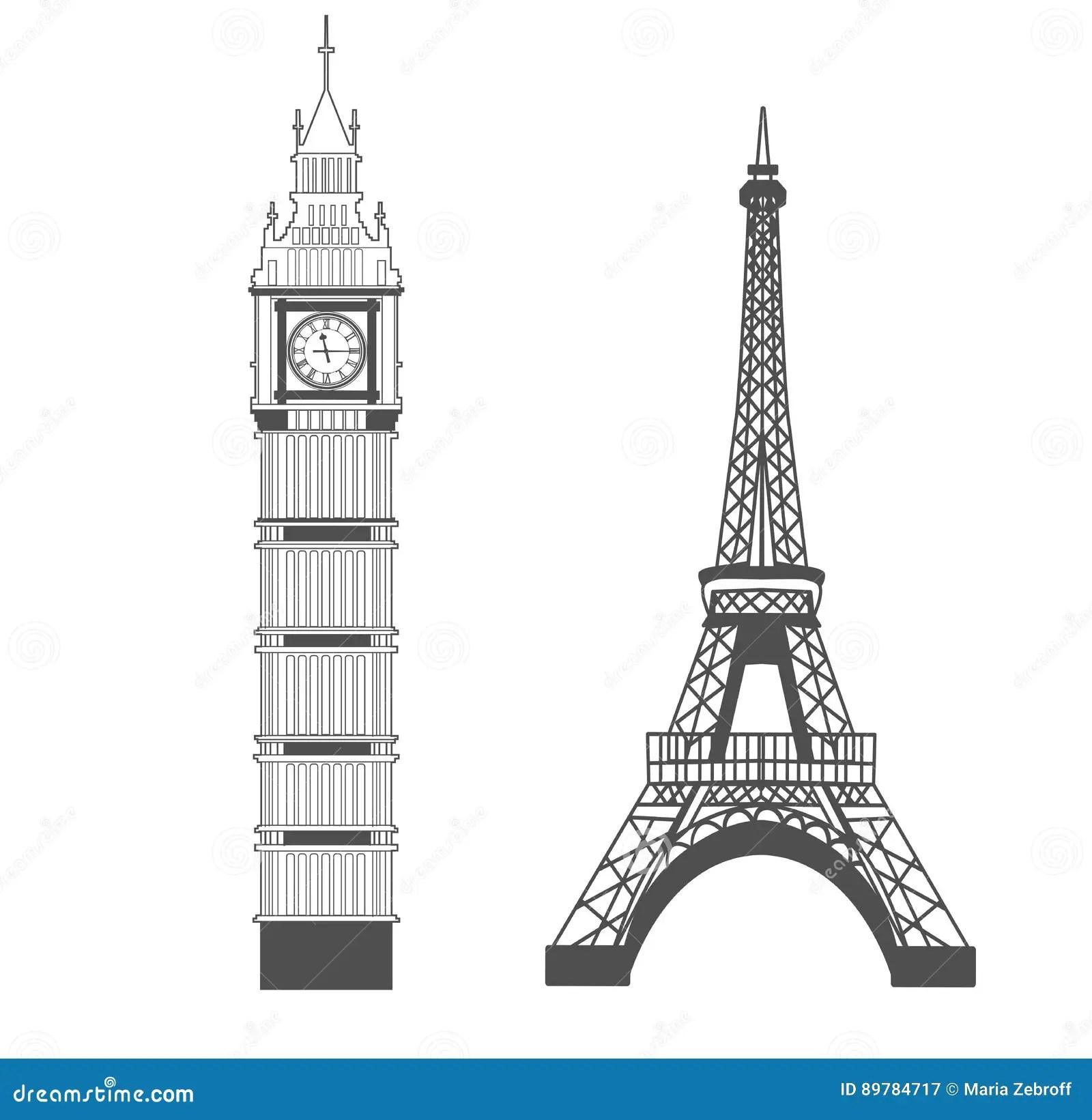 Big Ben And Eiffel Tower Stock Image Image Of Landmark