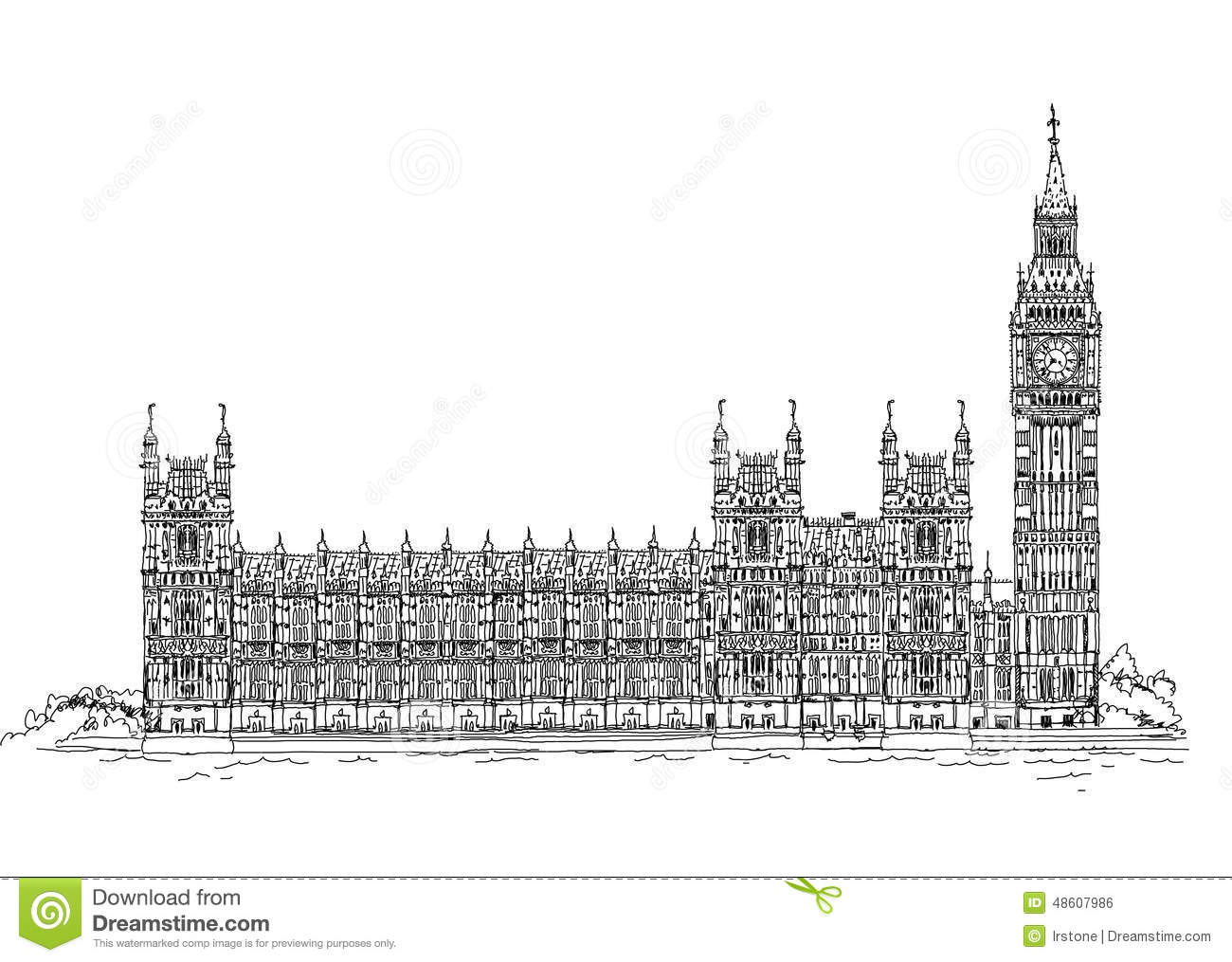 Big Ben And Parliament London Sketch Collection Stock