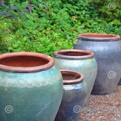 Wooden Beach Chairs Plans Ikea Orange Chair Big Blue Empty Garden Pots Stock Image. Image Of - 32745721