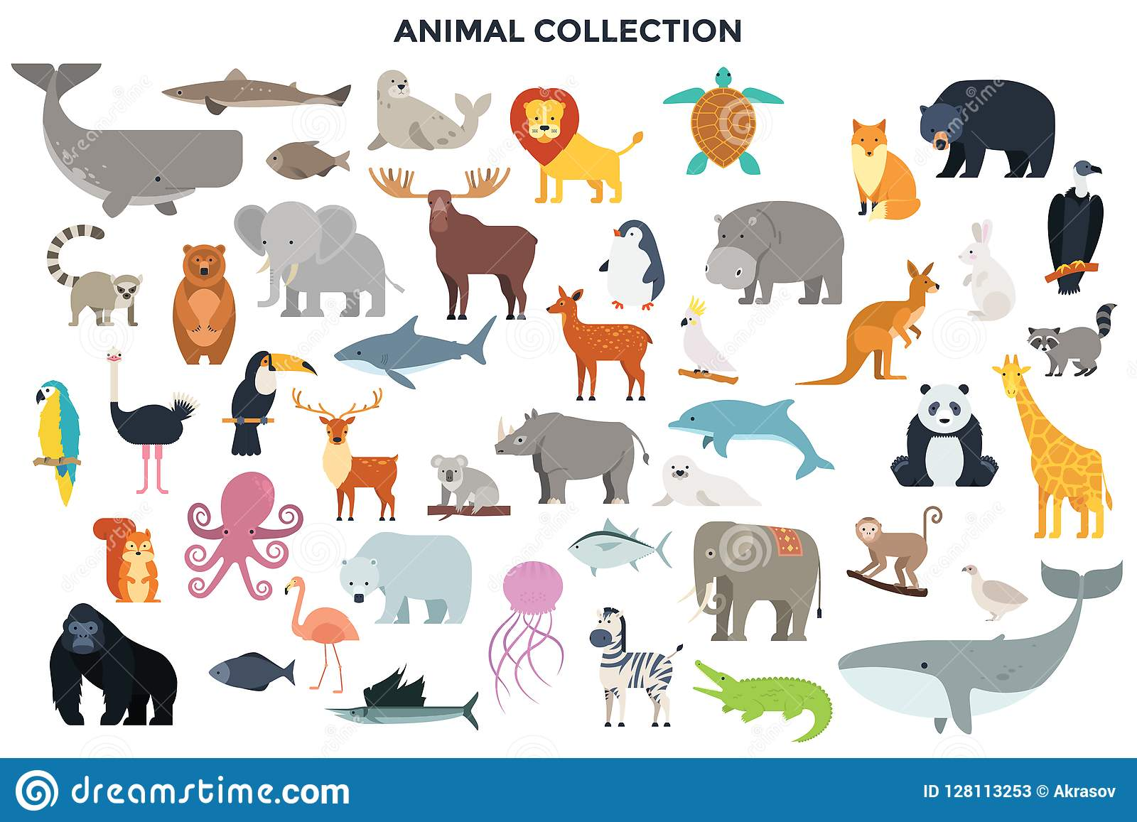 This is one of the most classic rainforest activities. Big Collection Of Wild Jungle Savannah And Forest Animals Birds Marine Mammals Fish Stock Vector Illustration Of Arctic Deer 128113253