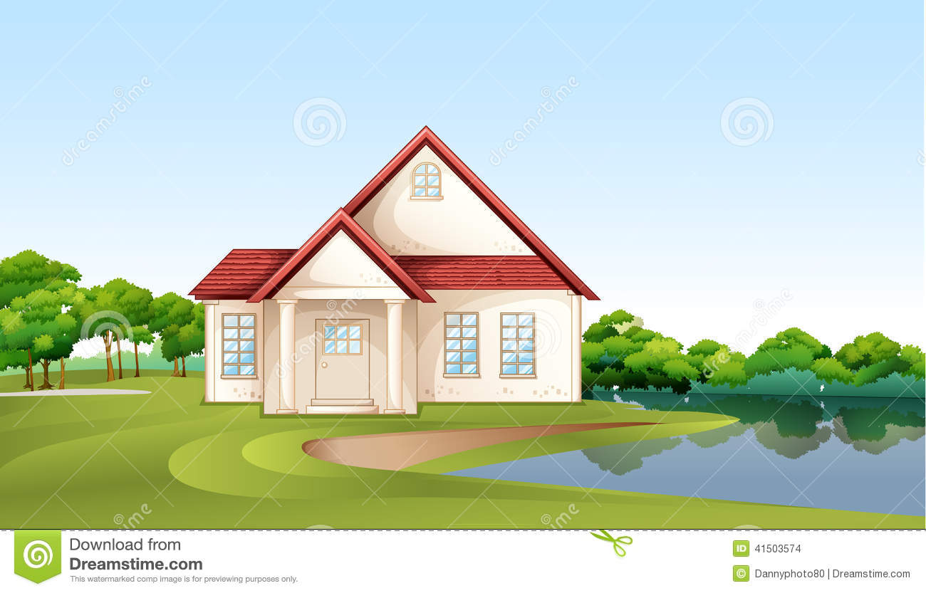 A Big Concrete House Near The River Stock Vector  Illustration of drawing greenery 41503574