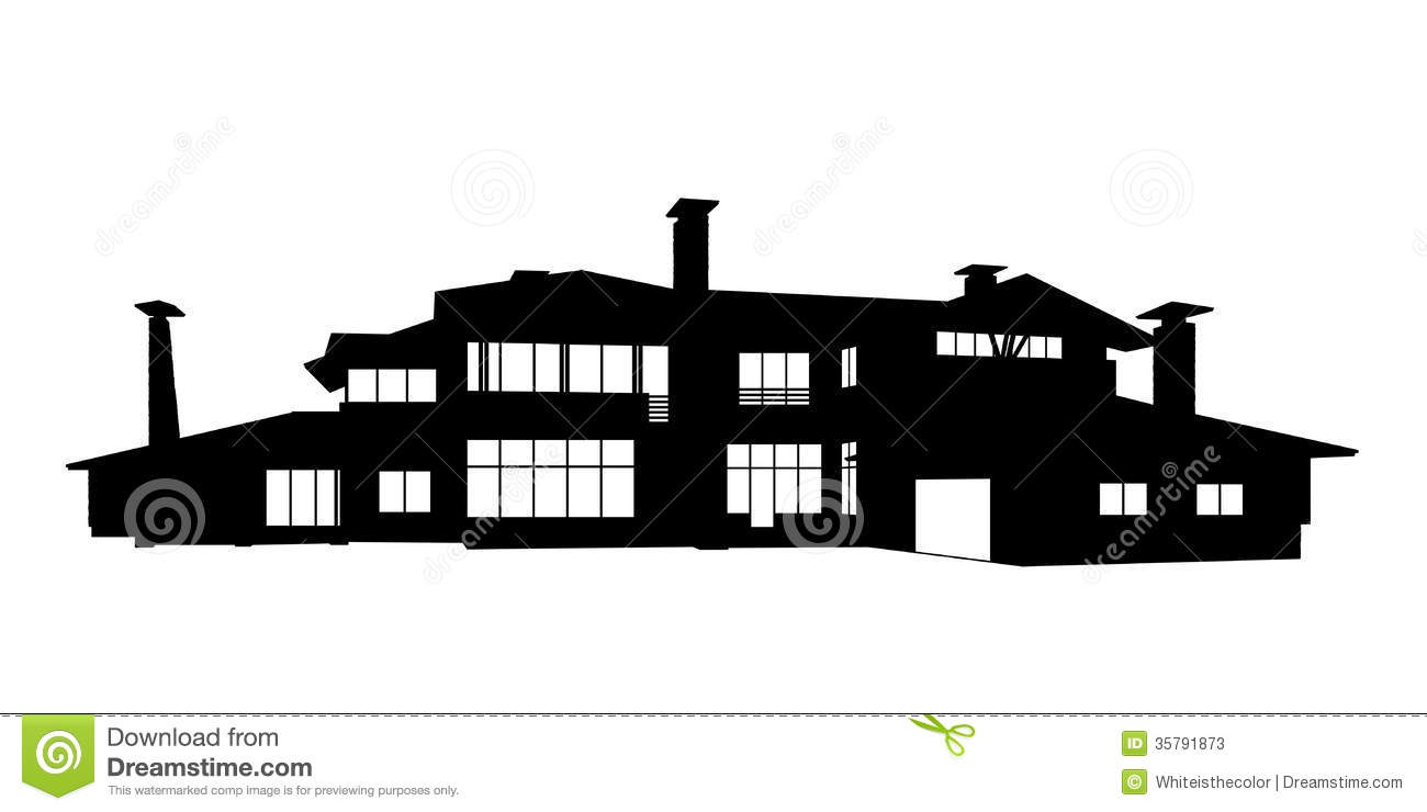 Big Contemporary Country House Silhouette Stock