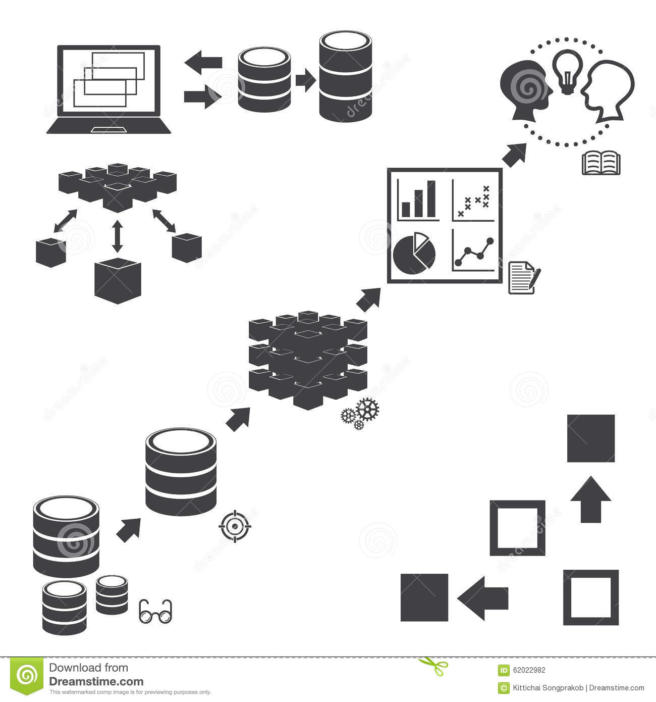 Big Data Icons Set, Data Mining Concept Stock Vector