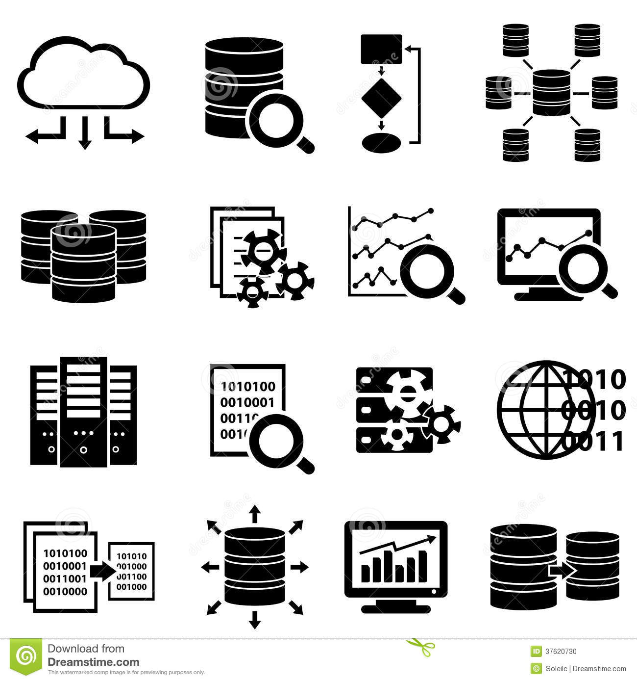 Big Data And Technology Icons Stock Photo