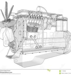 a big diesel engine with the truck depicted in the contour lines on graph paper  [ 1300 x 1185 Pixel ]