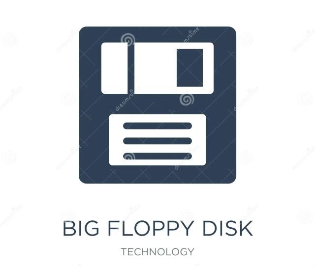 Big Floppy Disk Icon In Trendy Design Style Big Floppy Disk Icon Isolated On White