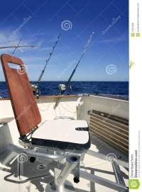 Big Game Boat Wooden Fishing Chair Stock Image