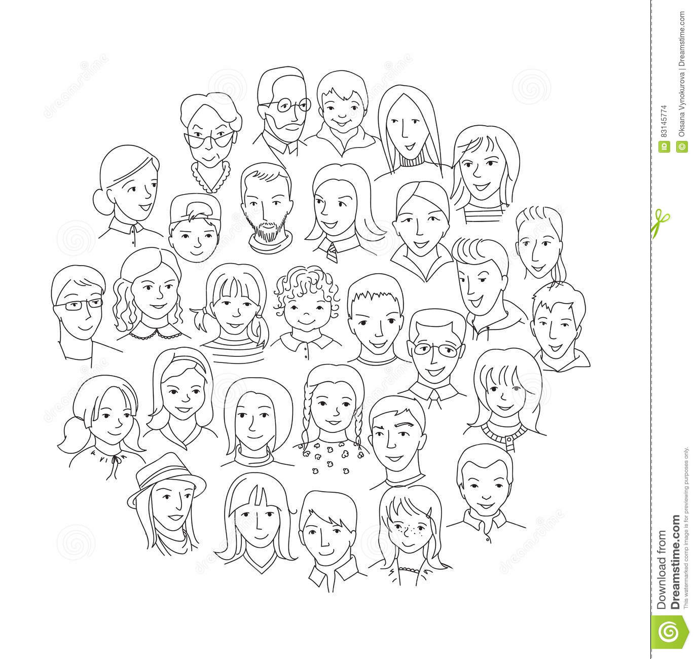 Big Group Of People Round Concept Stock Vector
