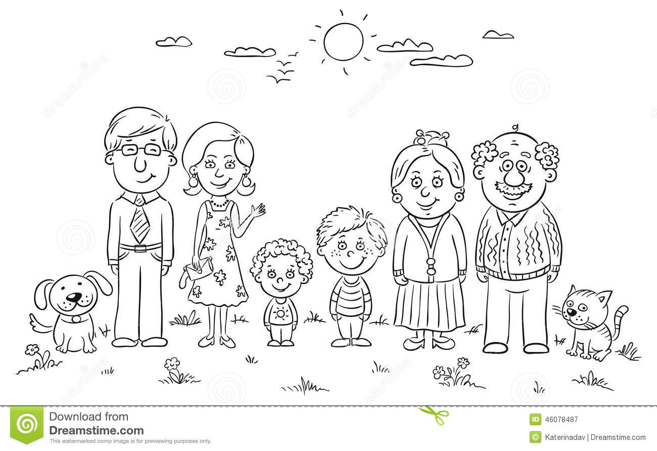 Big Happy Family Stock Vector