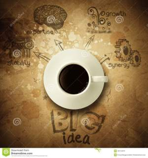 The Big Idea Diagram Cup Of Coffee Vintage Paper Background Stock Photo  Image of expertise